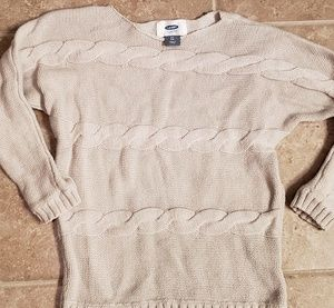 Girls Old Navy Beige Cable Knit Sweater 5T